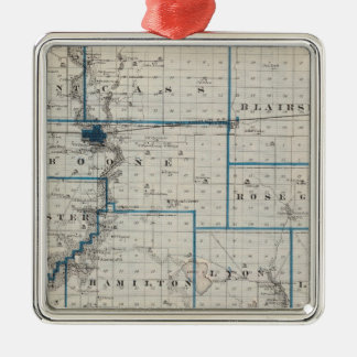 Map of Hamilton County, State of Iowa Square Metal Christmas Ornament