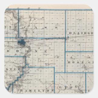 Map of Hamilton County, State of Iowa Square Sticker