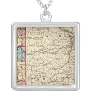Map of Hancock, Brooke, Ohio, Marshall counties Silver Plated Necklace