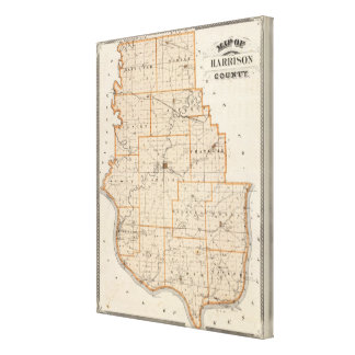 Map of Harrison County Canvas Print