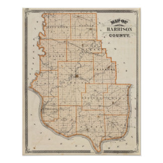 Map of Harrison County Poster