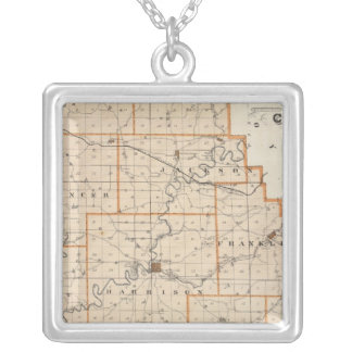 Map of Harrison County Square Pendant Necklace