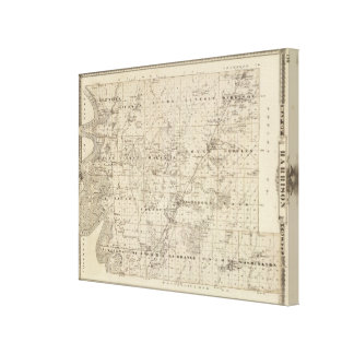 Map of Harrison County, State of Iowa Canvas Print