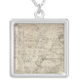 Map of Harrison County, State of Iowa Silver Plated Necklace