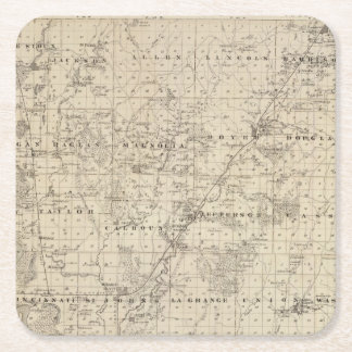 Map of Harrison County, State of Iowa Square Paper Coaster