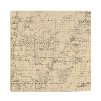 Map of Harrison County, State of Iowa Wood Coaster