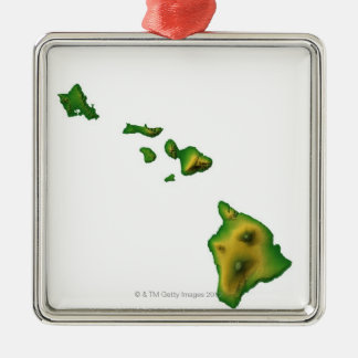 Map of Hawaii 2 Silver-Colored Square Decoration