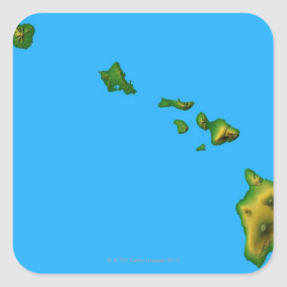 Map of Hawaii Square Stickers