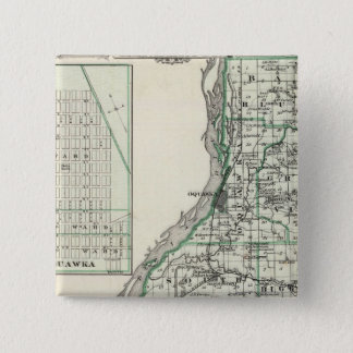 Map of Henderson County and Oquawka 15 Cm Square Badge