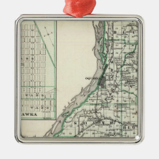 Map of Henderson County and Oquawka Christmas Ornament
