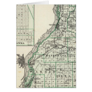 Map of Henderson County and Oquawka Greeting Card