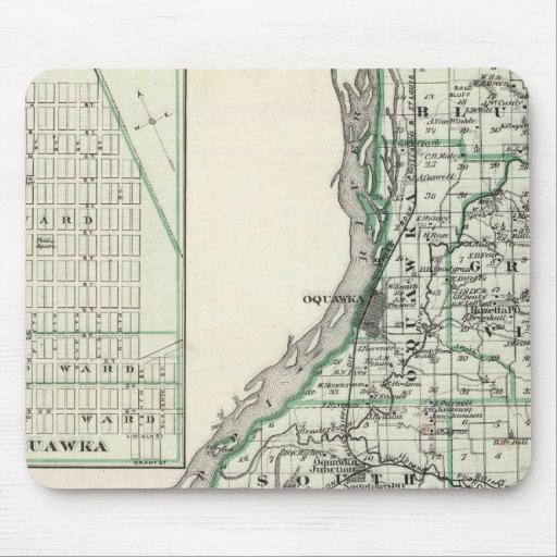 Map of Henderson County and Oquawka Mouse Pad