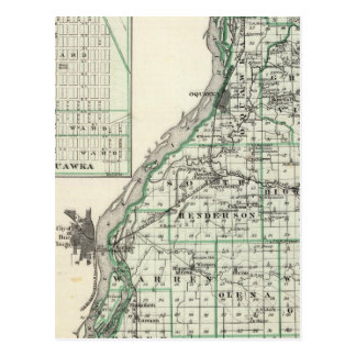 Map of Henderson County and Oquawka Postcard