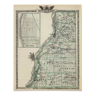 Map of Henderson County and Oquawka Poster