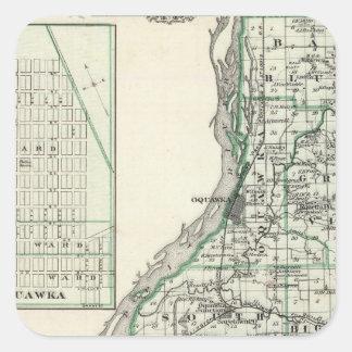 Map of Henderson County and Oquawka Square Sticker