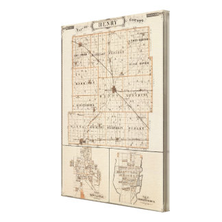 Map of Henry County with New Castle, Knightstown Canvas Print