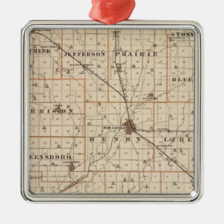 Map of Henry County with New Castle, Knightstown Christmas Ornament