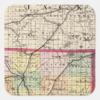 Map of Hillsdale County, Michigan Square Sticker