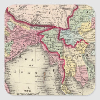Map Of Hindoostan, Farther India, China, and Tibet Square Sticker