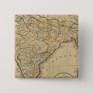 Map of Hindostan or India 15 Cm Square Badge