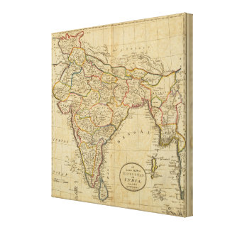 Map of Hindostan or India Canvas Print