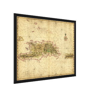 Map of Hispaniola and Puerto Rico Islands (1639) Stretched Canvas Print