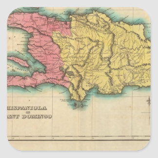 Map Of Hispaniola, Or St Domingo Square Sticker