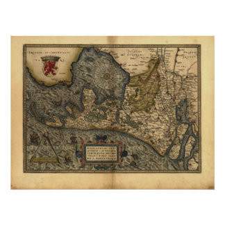 Map of Holland 1570 - Abraham Ortelius Poster