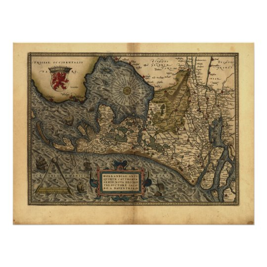 Map of Holland 1570 - Abraham Ortelius Poster