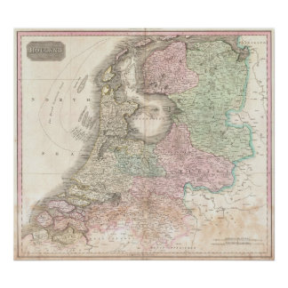 Map of Holland 1818 - John Pinkerton Poster