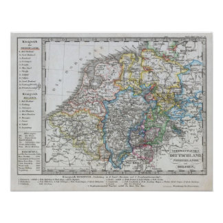 Map of Holland 1862 - by Justus Perthes Print