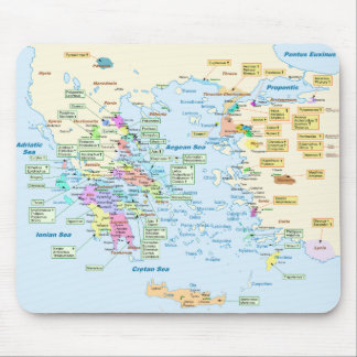 Map of Homeric Era Greece with English labels Mouse Mat