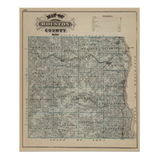 Map of Houston County, Minnesota Poster