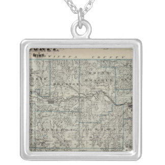 Map of Houston County, Minnesota Silver Plated Necklace
