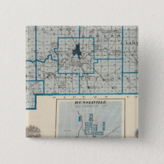 Map of Howard County with Russiaville 15 Cm Square Badge
