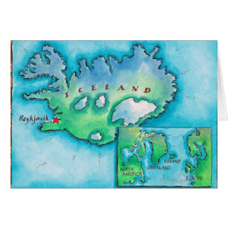 Map of Iceland Greeting Card