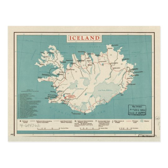 Map of Iceland (circa 1959) Postcard