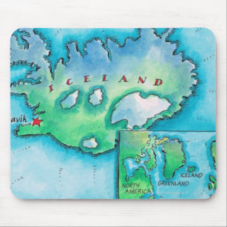 Map of Iceland Mouse Mat