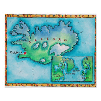 Map of Iceland Poster