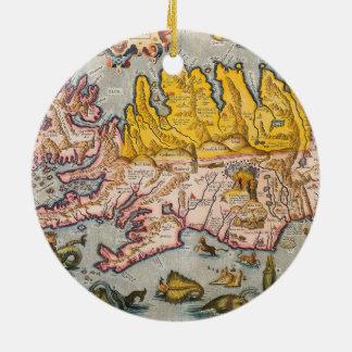 Map of Iceland Round Ceramic Decoration
