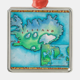 Map of Iceland Silver-Colored Square Decoration