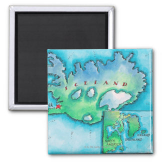 Map of Iceland Square Magnet