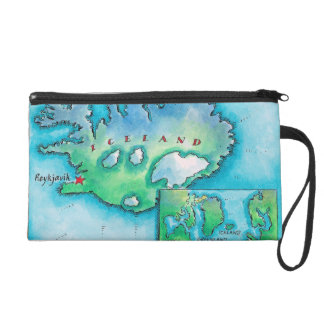 Map of Iceland Wristlet Clutch