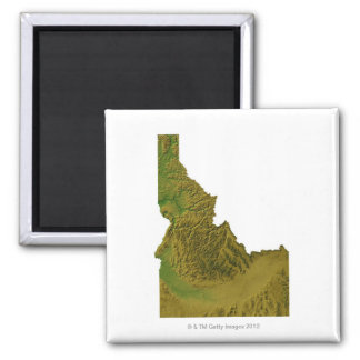Map of Idaho 2 Square Magnet