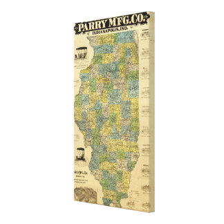 Map of Illinois 2 Canvas Print