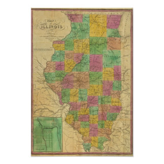 Map of Illinois 2 Poster