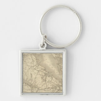 Map of Illinois 2 Silver-Colored Square Key Ring