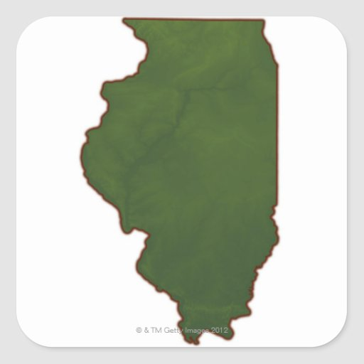 Map of Illinois 2 Square Stickers