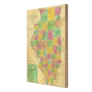 Map of Illinois 3 Canvas Print