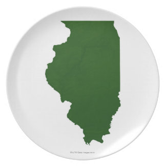 Map of Illinois Dinner Plate